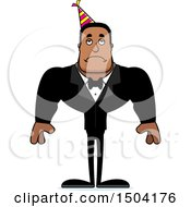 Clipart Of A Sad Buff African American Party Man Royalty Free Vector Illustration