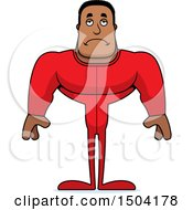 Clipart Of A Sad Buff African American Man In Pjs Royalty Free Vector Illustration
