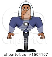 Clipart Of A Sad Buff African American Space Man Or Astronaut Royalty Free Vector Illustration