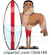 Sad Buff African American Male Surfer