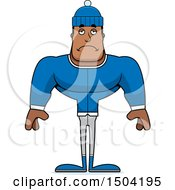 Clipart Of A Sad Buff African American Winter Man Royalty Free Vector Illustration