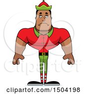Sad Buff African American Male Christmas Elf