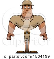 Clipart Of A Sad Buff African American Male Zookeeper Royalty Free Vector Illustration