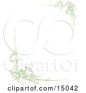 Elegant Green Scrolls Along Corners Of A White Background Which Would Make Great Stationery Sheets Clipart Illustration by Maria Bell
