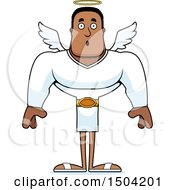 Clipart Of A Surprised Buff African American Male Angel Royalty Free Vector Illustration