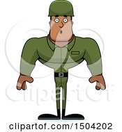 Clipart Of A Surprised Buff African American Male Army Soldier Royalty Free Vector Illustration