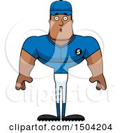 Clipart Of A Surprised Buff African American Male Baseball Player Royalty Free Vector Illustration