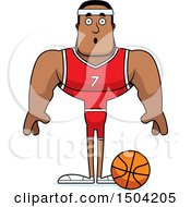 Clipart Of A Surprised Buff African American Male Basketball Player Royalty Free Vector Illustration