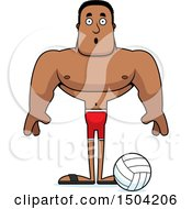 Clipart Of A Surprised Buff African American Male Beach Volleyball Player Royalty Free Vector Illustration