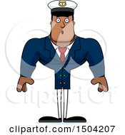 Clipart Of A Surprised Buff African American Male Sea Captain Royalty Free Vector Illustration