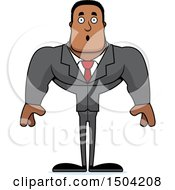 Clipart Of A Surprised Buff African American Business Man Royalty Free Vector Illustration by Cory Thoman