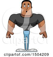 Clipart Of A Surprised Buff African American Casual Man Royalty Free Vector Illustration