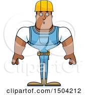 Clipart Of A Surprised Buff African American Male Construction Worker Royalty Free Vector Illustration