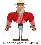 Clipart Of A Surprised Buff African American Male Cowboy Royalty Free Vector Illustration