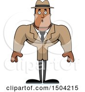 Clipart Of A Surprised Buff African American Male Detective Royalty Free Vector Illustration