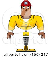 Clipart Of A Surprised Buff African American Male Fire Fighter Royalty Free Vector Illustration