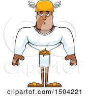 Clipart Of A Surprised Buff African American Male Hermes Royalty Free Vector Illustration