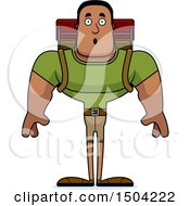 Clipart Of A Surprised Buff African American Male Hiker Royalty Free Vector Illustration