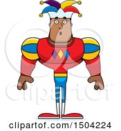 Clipart Of A Surprised Buff African American Male Jester Royalty Free Vector Illustration