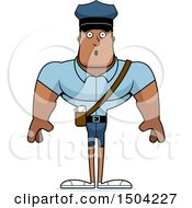 Clipart Of A Surprised Buff African American Mail Man Royalty Free Vector Illustration