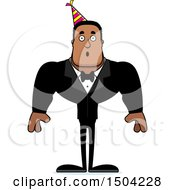 Clipart Of A Surprised Buff African American Party Man Royalty Free Vector Illustration