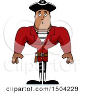 Clipart Of A Surprised Buff African American Male Pirate Captain Royalty Free Vector Illustration