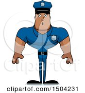 Clipart Of A Surprised Buff African American Male Police Officer Royalty Free Vector Illustration