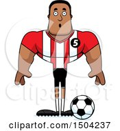 Clipart Of A Surprised Buff African American Male Soccer Player Royalty Free Vector Illustration