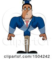 Clipart Of A Surprised Buff African American Male Teacher Royalty Free Vector Illustration
