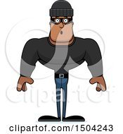 Clipart Of A Surprised Buff African American Male Robber Royalty Free Vector Illustration
