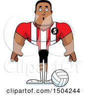 Clipart Of A Surprised Buff African American Male Volleyball Player Royalty Free Vector Illustration