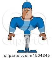 Clipart Of A Surprised Buff African American Winter Man Royalty Free Vector Illustration