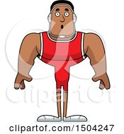 Clipart Of A Surprised Buff African American Male Wrestler Royalty Free Vector Illustration