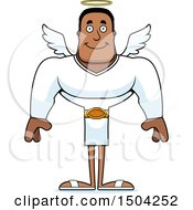 Clipart Of A Happy Buff African American Male Angel Royalty Free Vector Illustration by Cory Thoman