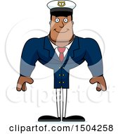 Clipart Of A Happy Buff African American Male Sea Captain Royalty Free Vector Illustration