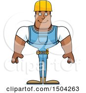 Clipart Of A Happy Buff African American Male Construction Worker Royalty Free Vector Illustration