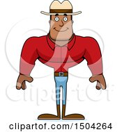 Clipart Of A Happy Buff African American Male Cowboy Royalty Free Vector Illustration