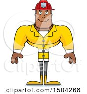 Clipart Of A Happy Buff African American Male Fire Fighter Royalty Free Vector Illustration by Cory Thoman