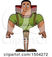 Clipart Of A Happy Buff African American Male Hiker Royalty Free Vector Illustration by Cory Thoman