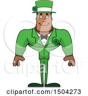 Clipart Of A Happy Buff Black Irish Male Leprechaun Royalty Free Vector Illustration by Cory Thoman