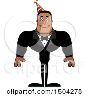 Clipart Of A Happy Buff African American Party Man Royalty Free Vector Illustration