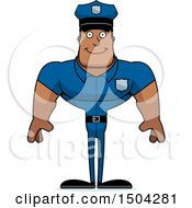 Clipart Of A Happy Buff African American Male Police Officer Royalty Free Vector Illustration