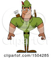 Clipart Of A Happy Buff African American Male Robin Hood Archer Royalty Free Vector Illustration