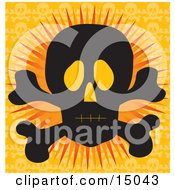 Silhouetted Human Skull And Crossbones With Glowing Eye Sockets Over An Orange Background Clipart Illustration