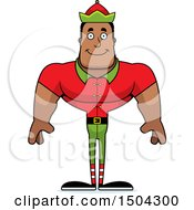 Clipart Of A Happy Buff African American Male Christmas Elf Royalty Free Vector Illustration by Cory Thoman
