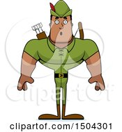 Clipart Of A Surprised Buff African American Male Robin Hood Archer Royalty Free Vector Illustration by Cory Thoman