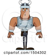 Clipart Of A Surprised Buff African American Male Viking Royalty Free Vector Illustration