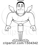 Poster, Art Print Of Black And White Bored Buff African American Male Angel