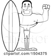 Black And White Cheering Buff African American Male Surfer