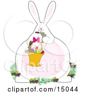 White Bunny Rabbit Sitting In Flowers And Holding A Basket Of Easter Eggs And Candies Chowing Down On A Chocolate Bunny Clipart Illustration